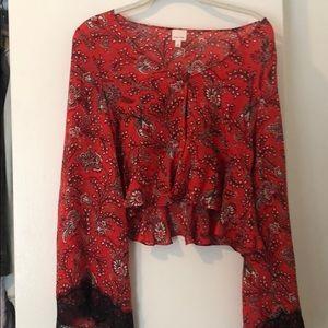 Cinq à sept cropped blouse